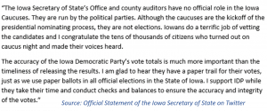 Official statement on Iowa caucuses
