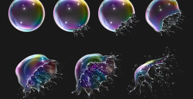 Sequence of a soap bubble pursting